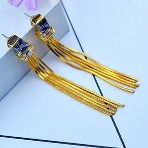 Henri Bendel Crystal Snake Chain Tassel Earrings